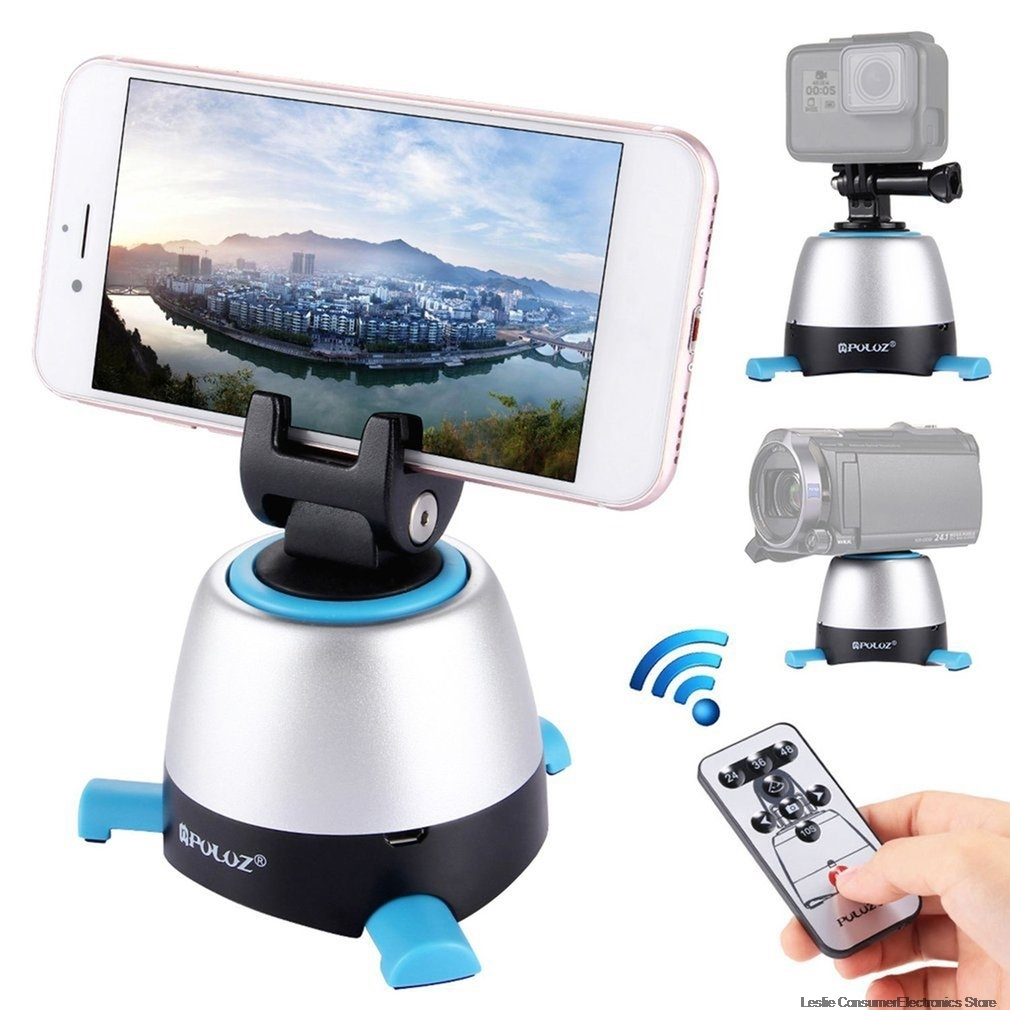 PULUZ Electronic 360 Degree Rotation Panoramic Tripod Head with <font><b>Remote</b></font> <font><b>Controller</b></font> Rotating Pan Head For Smartphones, <font><b>GoPro</b></font>, DSLR image