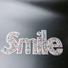 Стразы с надписью «smile», 1 шт./лот, 10x25 см для каждого предмета, модные наклейки «smile» для футболки