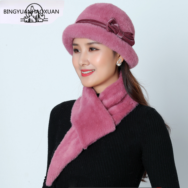New Winter Hat Sets For Women Warm Knitted Skullies Rabbit Fur Beanies Solid Color Mink Plush Bow Baggy Cap Headwear