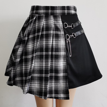 Plaid Skirt Short Mini Harajuku Black White Gothic Streetwear-Buttons Women Side Sexy