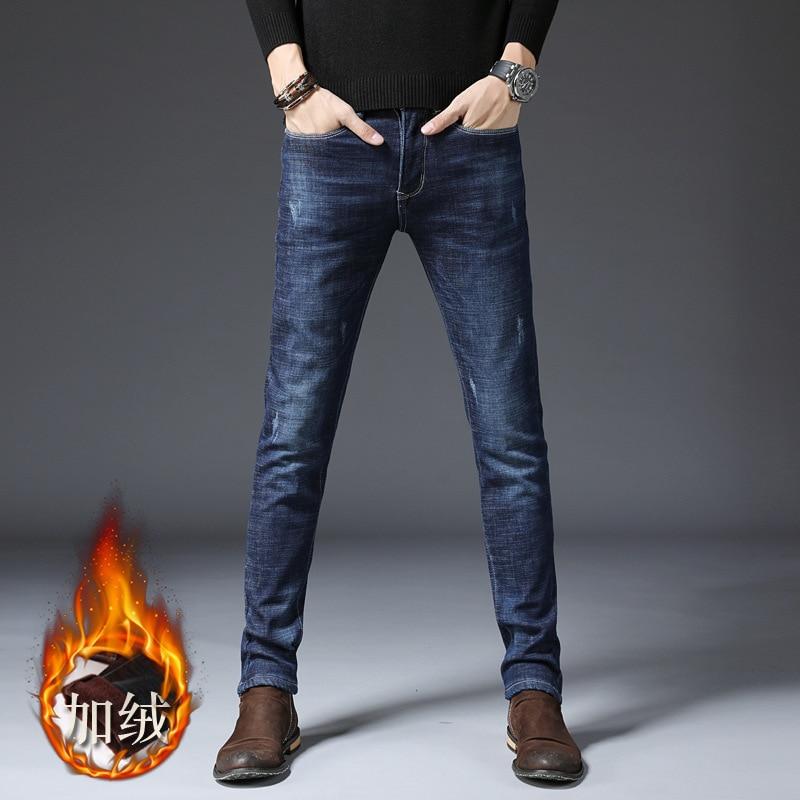 2019 New Style Plus Velvet MEN'S Jeans Elasticity Skinny Pants Korean-style Casual Jeans Thick Men's