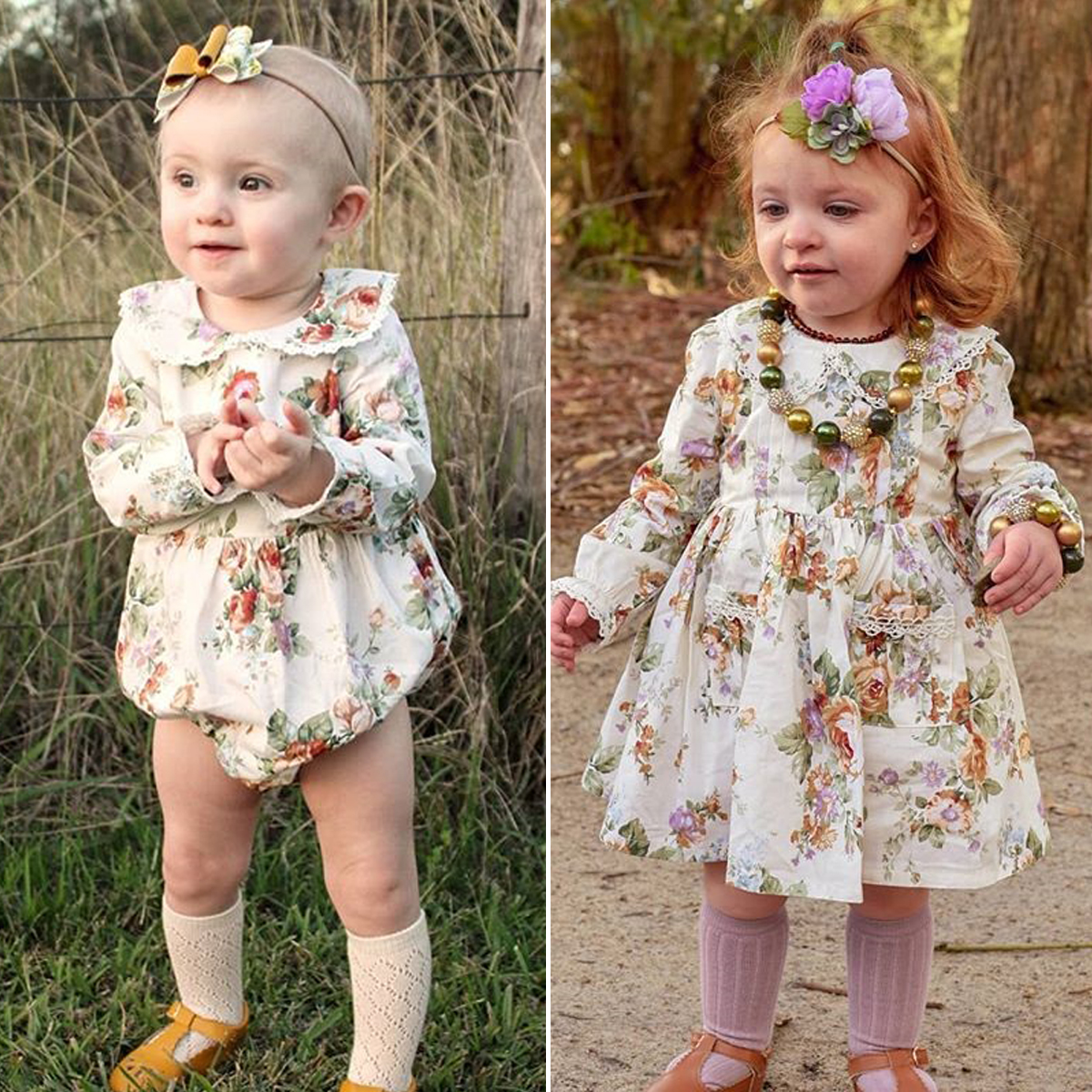 Little//Big Sister Matching Clothes Kids Baby Girl Floral Romper Dress Outfits UK