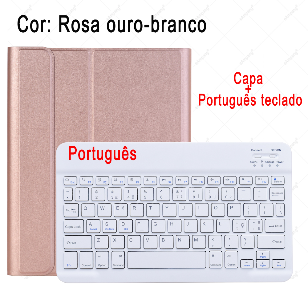 Portuguese Keyboard mauve Keyboard Case For ipad 10 2 2019 7 7th 8th Generation A2197 A2198 A2200 A2232 Detachable