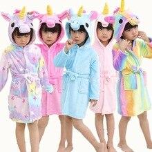 Детская Полотенца пляжный детский банный халат животных в виде радужного единорога, купальные халаты с капюшоном для мальчиков и девочек, пижамы одежда для сна детская одежда для сна, Халат