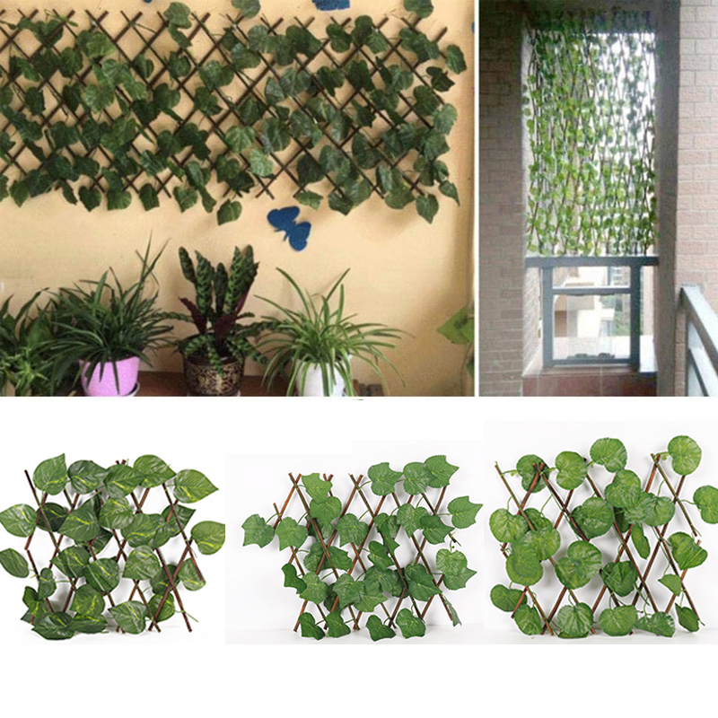 Garden Simulation Plant Telescopic Fence Retractable UV Protection Greenery Wall Durable Expanding Trellis Fence