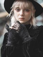 Punk Rave Women's Gothic Cross Design Mesh Gloves PS 168