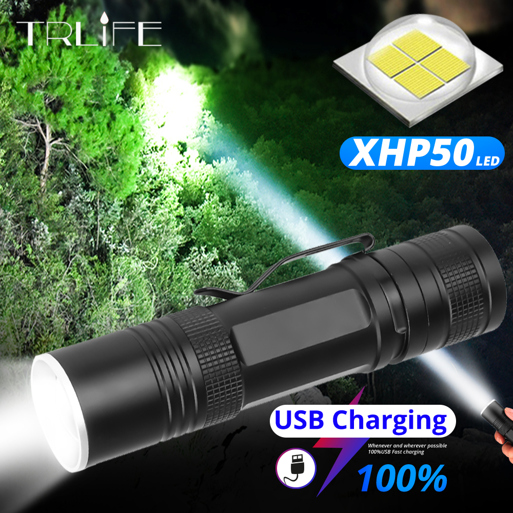Powerful LED Flashlight XHP50 Rechargeable Torch 18650 26650 Flash Light Mini USB Zoom Lantern XHP50.2 Hunting Lamp Self Defense