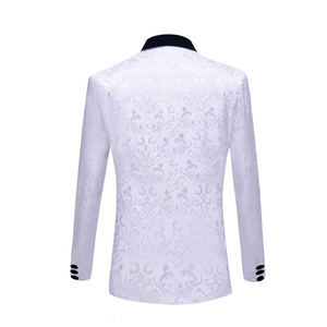 Image 2 - PYJTRL New 4 Pieces Set Wedding Groom Shawl Lapel Jacquard Tuxedo Pink Yellow Black Red Pure White Slim Fit Prom Dress Suits Men