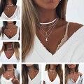 Лидер продаж, многослойные ожерелья золотого и серебряного цвета с листьями и каплями воды, ожерелья с выдвижной картой для женщин, богемны...