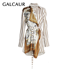 GALCAUR Print Patchwork shirt Women Lapel Collar Long Sleeve Lace Up Asymmetrical Shirt Tops Female Fashion Clothing 2019 New