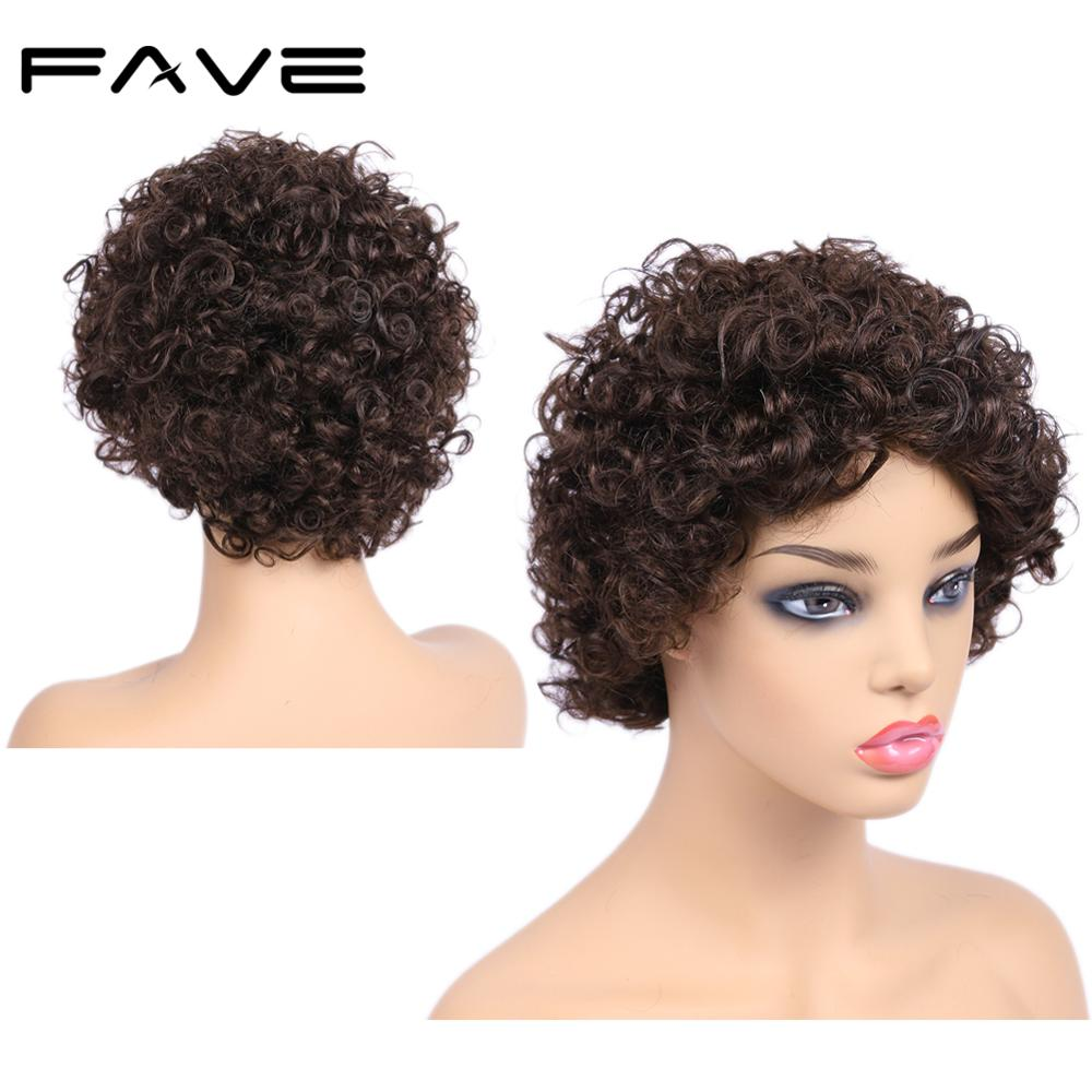 FAVE Short Afro Wig Brazilian Remy Human Hair Wigs Afro Kinky Curly Wigs For Black Women Natural Looking 6.5 Inches