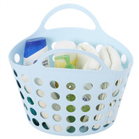 Waterproof Bath Organizer Storage Basket Eco friendly PE Organizer To Bathroom Fruit Baskets With Handle Hollow Laundry Basket|Bath Baskets| |  -