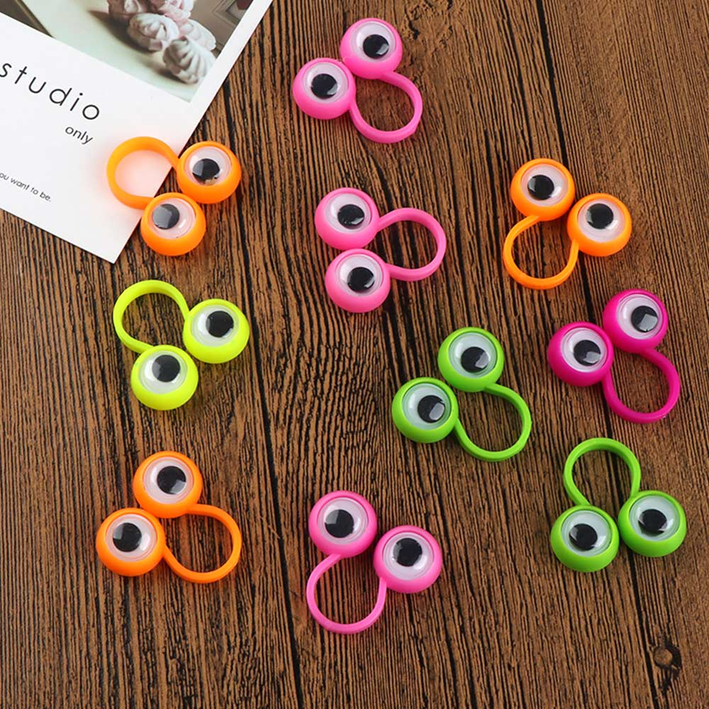 10 PC/Set Hot Selling Children Creative Jewelry Moving Big Eyes Cartoon Rings Ornaments Finger Rings Party Toy Gift