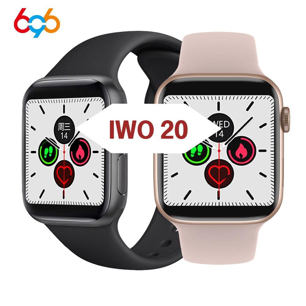 2020 IWO 20 Smart Watch 1:1 44MM Watch 5 IP68 Waterproof Blood Oxygen Blood Pressure Heart Rate Monitor T8 Smartwatch Bracelet m