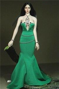 """Горячая игрушка фигурка одежда Acceries 1/6 женский сексуальный зеленый Низкий вырез Открытая грудь платье юбка для 12 """"женская кукла"""