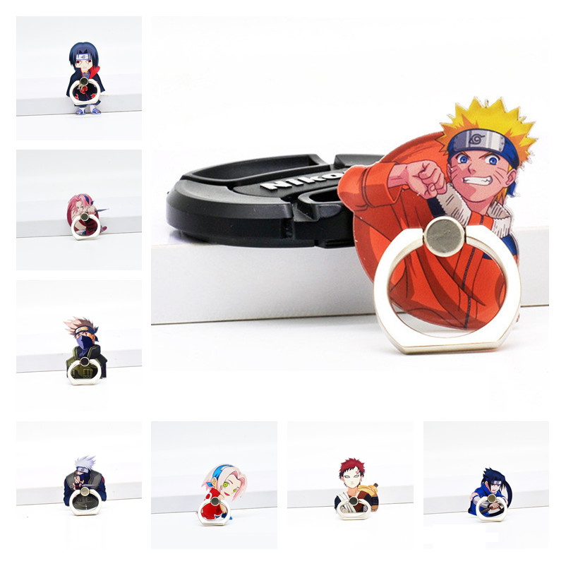 Classic Anime NARUTO Uzumaki Naruto Cosplay Props Konoha Uchiha Sasuke Phone Holder Stand Acrylic+Metal Ring Foothold Adjustable