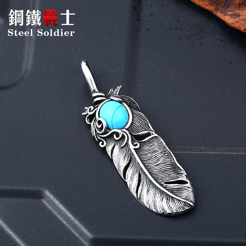 Steel soldier trendy feather pendant with stone stainless steel men necklace popular unqiue jewelry for gift