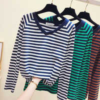 gkfnmt 2019 Vintage Stripe V neck Long Sleeve T shirt Women Casual White T-Shirt Female Tops Fall Tee Shirt Femme Clothes