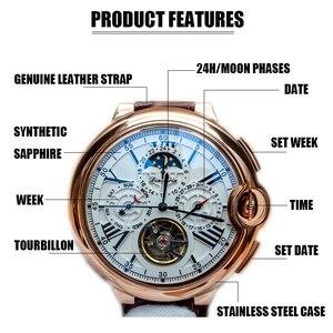 Image 4 - توربيون رجالي ساعة ماركة فاخرة حزام ساعة الرجال التلقائي الميكانيكية ساعة اليد الهيكل العظمي الرياضة الذكور الساعات relogio CASENO