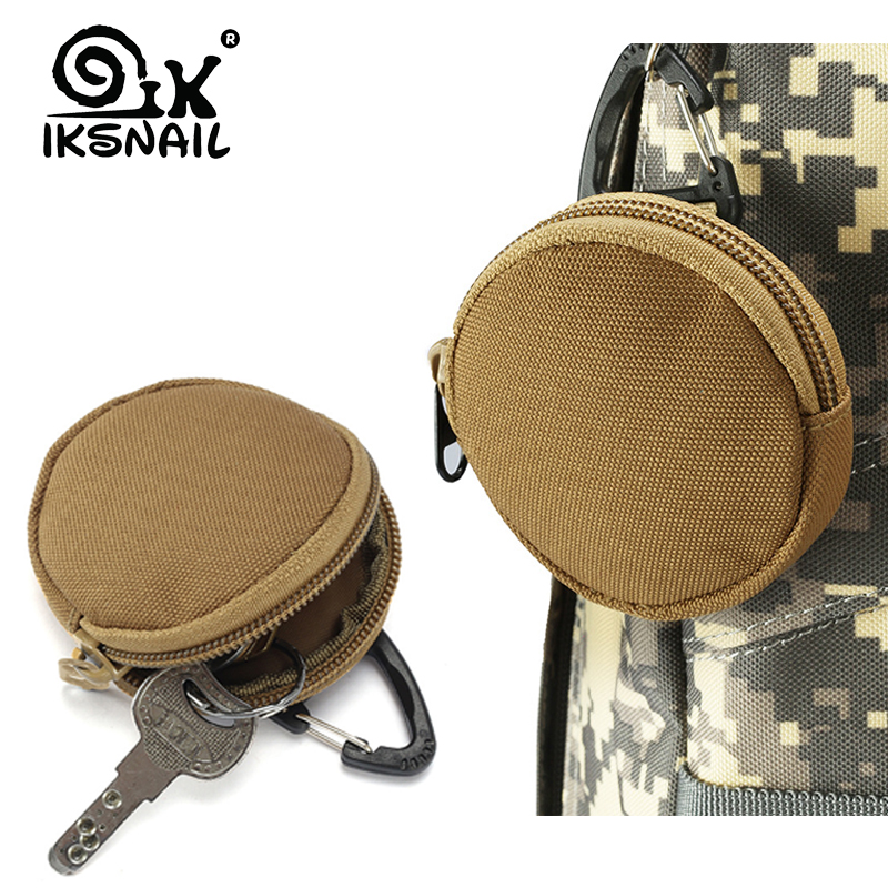 IKSNAIL Tactical EDC Pouch Key Wallet Holder Men Coin Purses Pouch Military Army Camo Bag Keychain Zipper Pocket Outdoor Bag