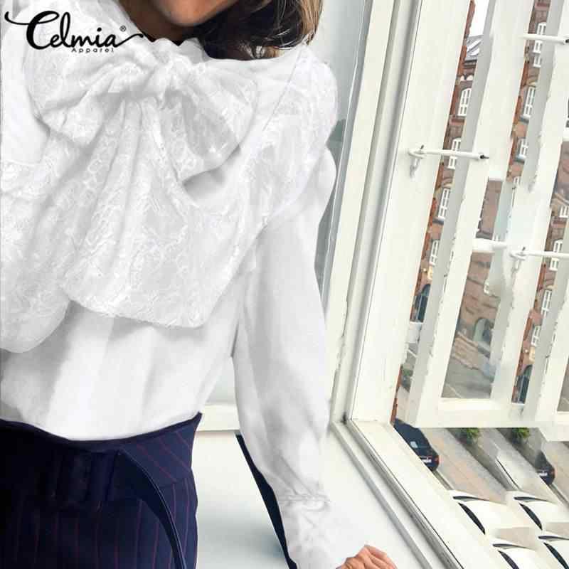 S-5XL celmia feminino manga longa rendas moda blusa elegante ol babados gola arco camisas casuais solto túnica tops plus size