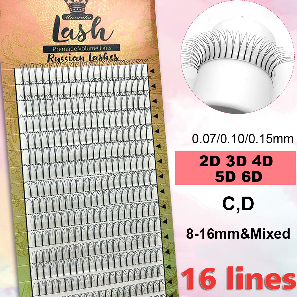 MASSCAKU 16lines Premade Russian Volume Fans 2d/3d/4d/5d/6d Eyelashes Long Stem Lash Pre Made Eyelash Extensions Supplies