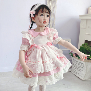 Hiszpańska odzież dziecięca sukienki dziecięce dla dziewczynek opaska dziecięca księżniczka sukienka na przyjęcie urodzinowe dziewczynka Vintage Vestidos Free Headband