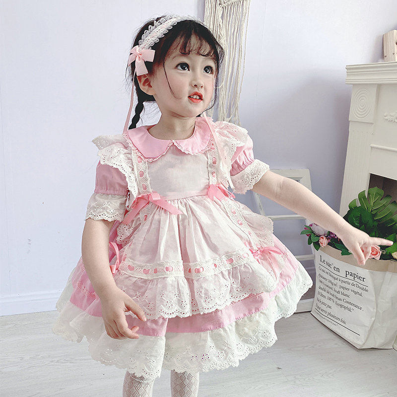 Spanish Children Clothing Kids Dresses For Girls Lace Bow Princess Birthday Party Dress Baby Girl Vintage Vestidos Free Headband