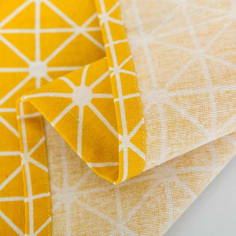 노란색 격자 무늬 전자 레인지 먼지 커버 후드 코튼 전자 레인지 커버 홈 GQ
