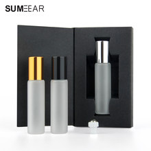50Pieces/Lot 10ml Roll On Essential Oil Vial Empty Perfume Sample Bottle Frosted Glass Mini Perfume Bottle Packing box