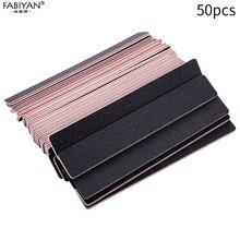 50pcs Professional สี่เหลี่ยมผืนผ้าเล็บไฟล์บัฟเฟอร์เคล็ดลับ Slim Crescent Grit 100/180 ชุด