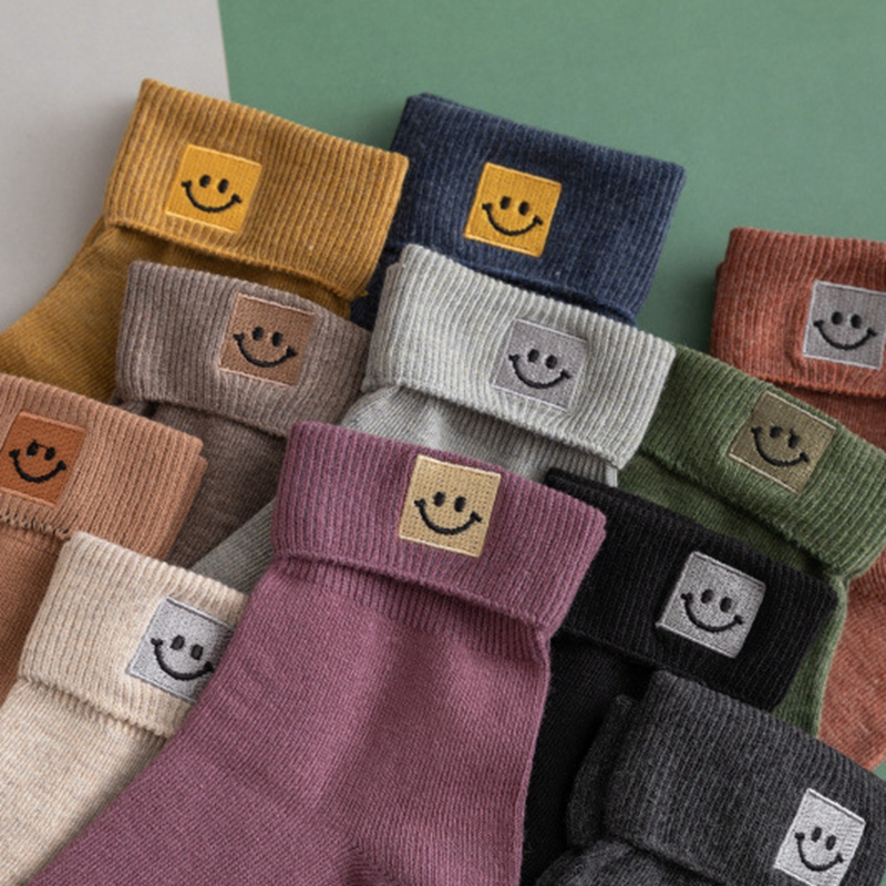 Cute Flange embroidery Square Face Cotton Women's Socks New Lovely Smile Face High Quality Socks Autumn Fashion Cartoon Socks