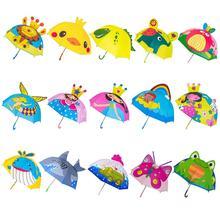 Children Umbrella Boys Girls Cartoon With Animal Ears Umbrella Custom Princess Long Handle Safe Light Portable Umbrella