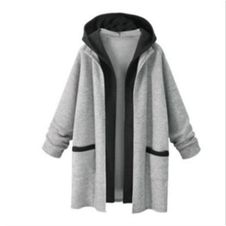 Women Thin Gray/Black Sweatshirts Spring Autumn Long Sleeve Loose Outerwear Casual Patchwork Hooded