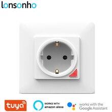 Lonsonho Tuya Wifi Smart Wall Socket EU 220V 16A Electrical Outlets Plug Home Smartlife Alexa Google Compatible