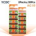YCDC 20 штук AG10 LR1130 1130 SR1130 389A LR54 L1131 389A 1,55 v-образная Кнопка Батарея MP3-плееры, игрушки, часы батареи щелочная батарея