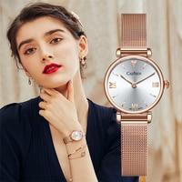 CADISEN 18K GOLD Woman Watch Luxury Brand Stainless steel Mesh Belt Wristwatch 30M Waterproof Gold Quartz Watch relogio feminino