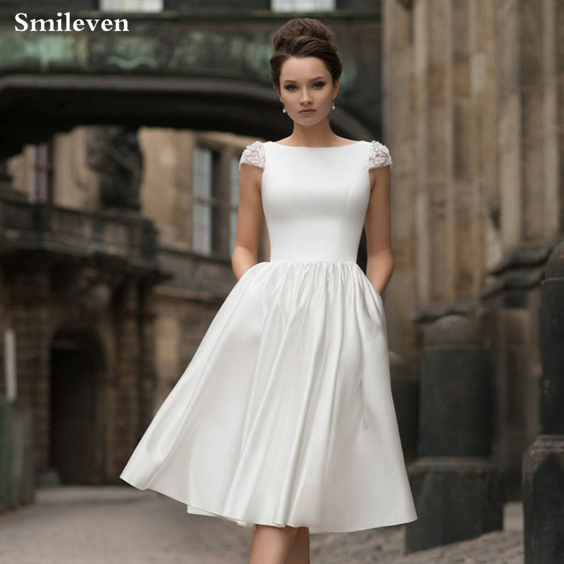 Smileven Boho Bride Dress 2019 Satin Fake vestido de casamento Princess Wedding  Romatic Party