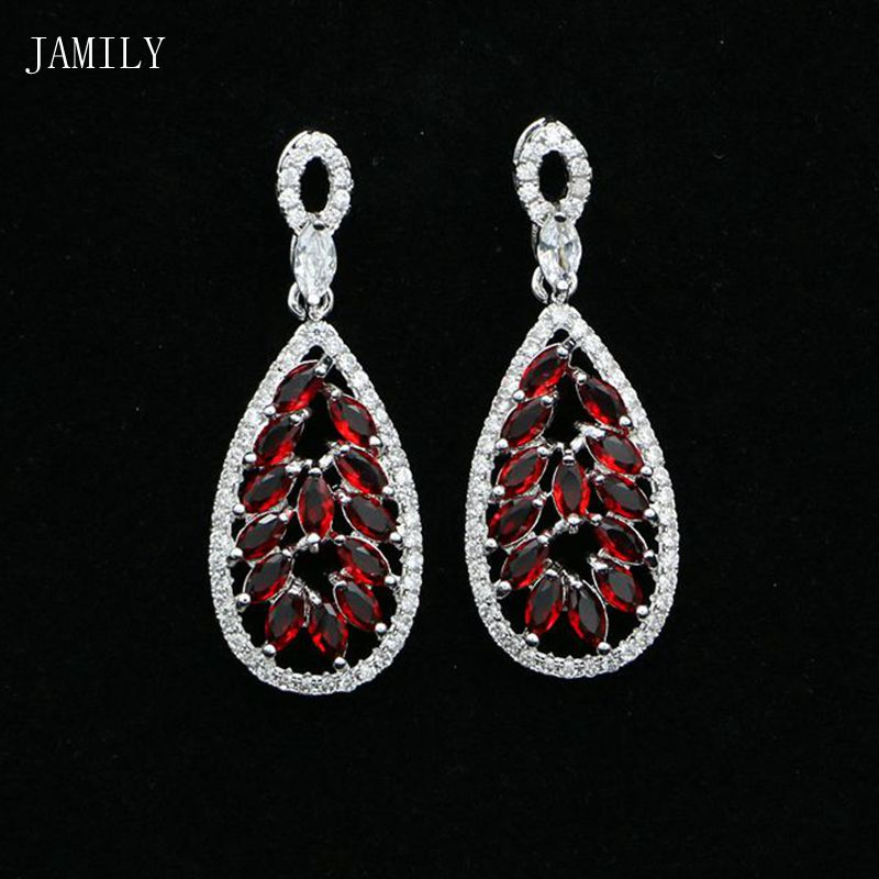 Fashion 925 Sterling Silver Jewelry Red Stones White Crystal Dangle Long Earrings Accessories For Women