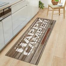 Grão de madeira cozinha tapete entrada capacho corredor quarto piso tapete 3d paralelepípedos banheiro absorção de água anti-deslizamento longo