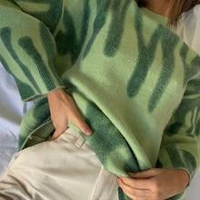 Sweaters Outerwear Pullovers Women Aproms Loose Print Warm Elegant Green Striped Long