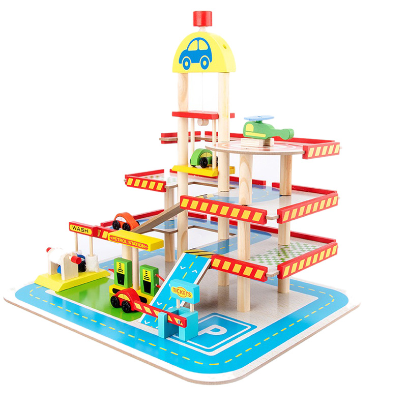 Toy Car Children's Toy Car Toy Model Car Wooden Puzzle Building Slot Track Rail Transportation Parking Garage