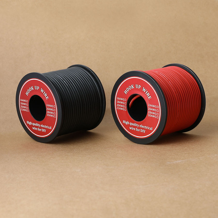 20m/Roll 16 <font><b>AWG</b></font> Stranded <font><b>Wire</b></font> Hook-up Flexible Silicone Electrical <font><b>Wire</b></font> Rubber Insulated Tinned Copper 3000V Safe Current 12.7A image