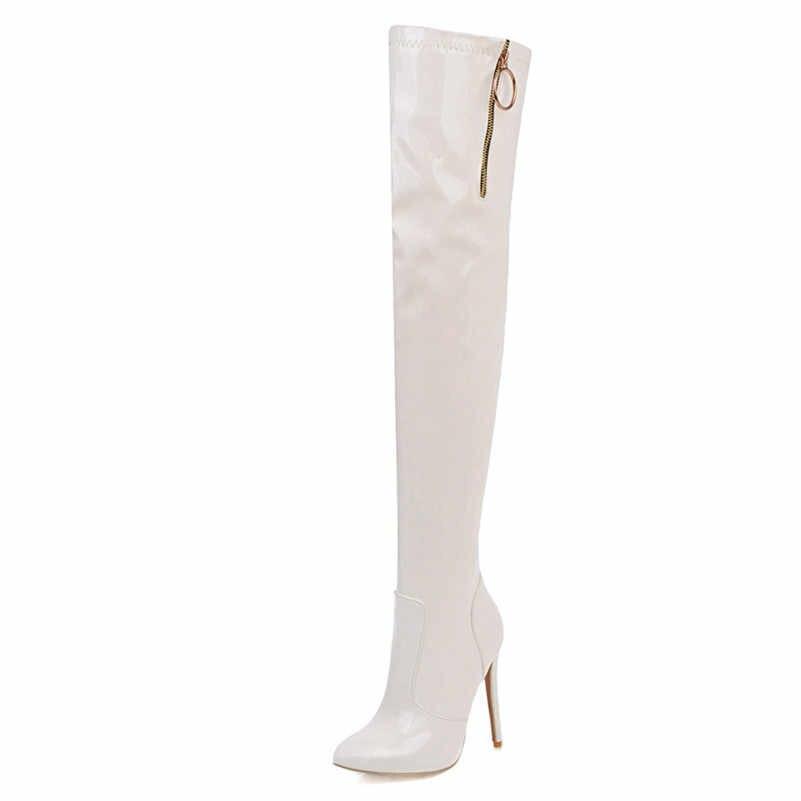 FEDONAS Marka 2020 Sonbahar Kış Moda Kare Ayak Yüksek Topuklar parti ayakkabıları Kadın Hakiki Deri Geri Fermuar Kadın yarım çizmeler
