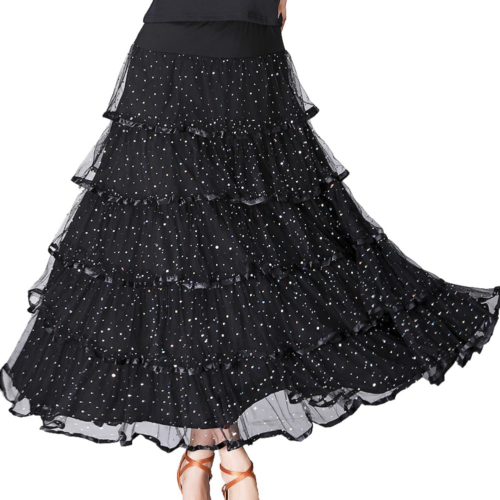 Fashion Modern Dance Skirt Sequins Flowers Skirts Tango Ballroom Waltz Dance Skirt For Women Lady Adult Party Half-length Skirt