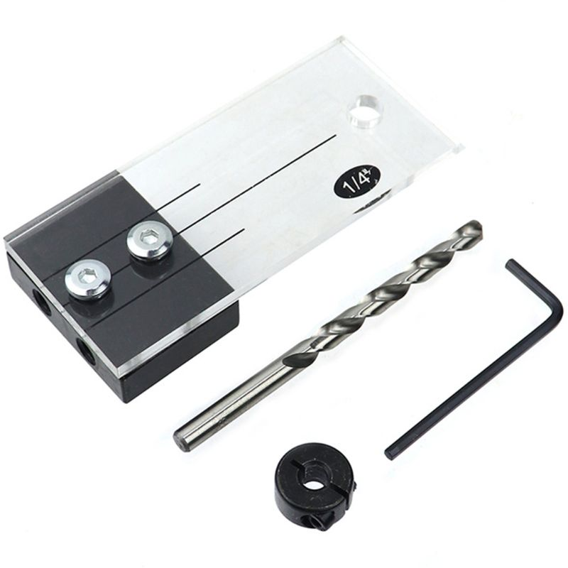 Dowel Jig Acrylic Hardened Steel Pocket Hole Jig 1/4 Inch Drill Guide Locator 448A