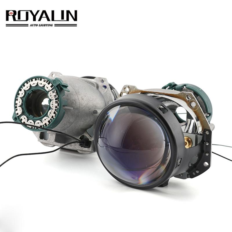 ROYALIN Full Metal D1S D2S D3S D4S Bi-xenon Headlight Lenses Blue For Hella 3R G5 Car Light Retrofit