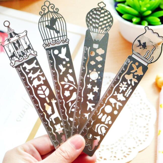 1pcs/lot 10cm Hollow Bookmark Ruler Stainless Steel Ruler For Kids Drawing Transparent Simple Style Four Design Selections