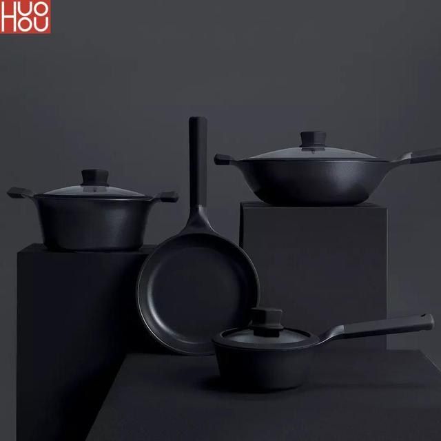 Huohou שאינו מקל סופר פלטינה ווק מחבת Stockpot מחבת חלב עמיד קל נקי גבוהה טמפרטורת תזכורת מטבח כלי בישול