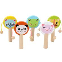 Toy Baby Musical-Instruments-Toys Clapper-Handle Wooden Kids for Castanets